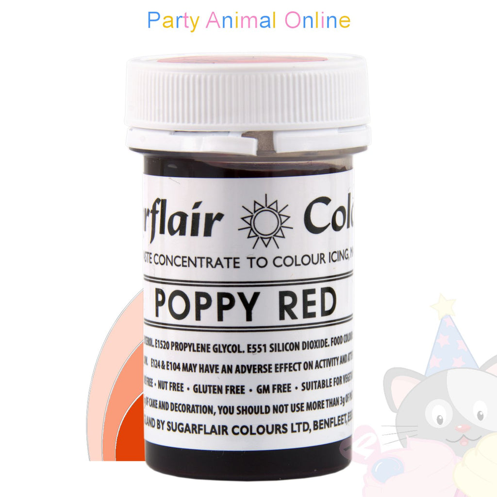 Sugarflair Tartranil Paste POPPY RED Food Colouring