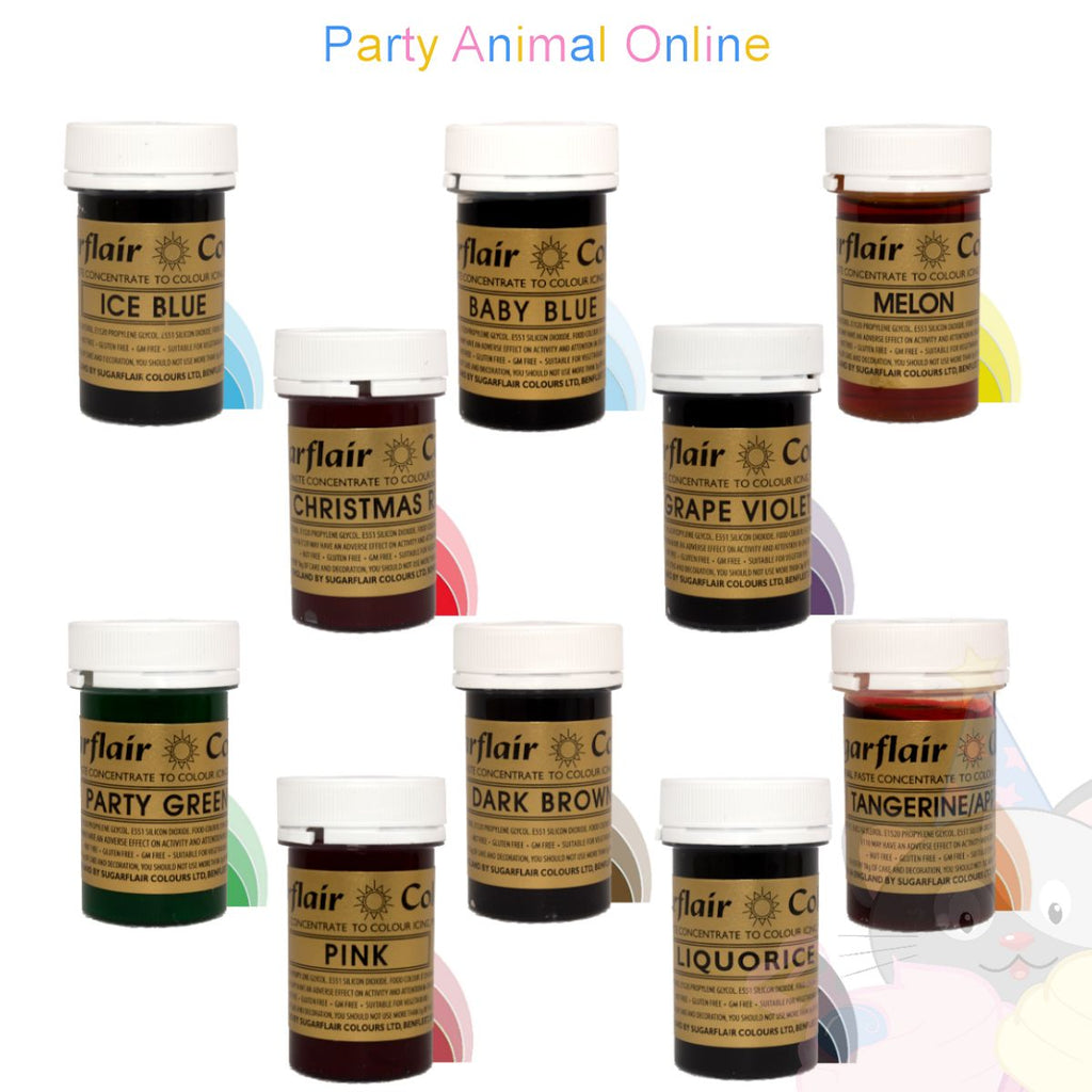Sugarflair PASTE / GEL Food Colours - Set of 10 MOST POPULAR