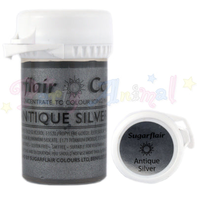Sugarflair Satin Paste Food Colour - Antique Silver