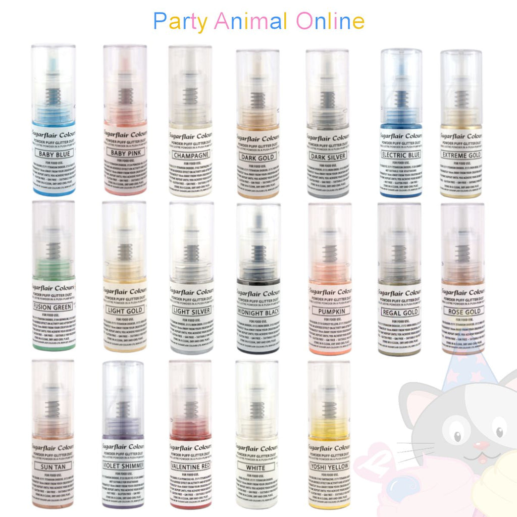Sugarflair Powder Puff Glitter Dust Sprays - Complete Set of 19