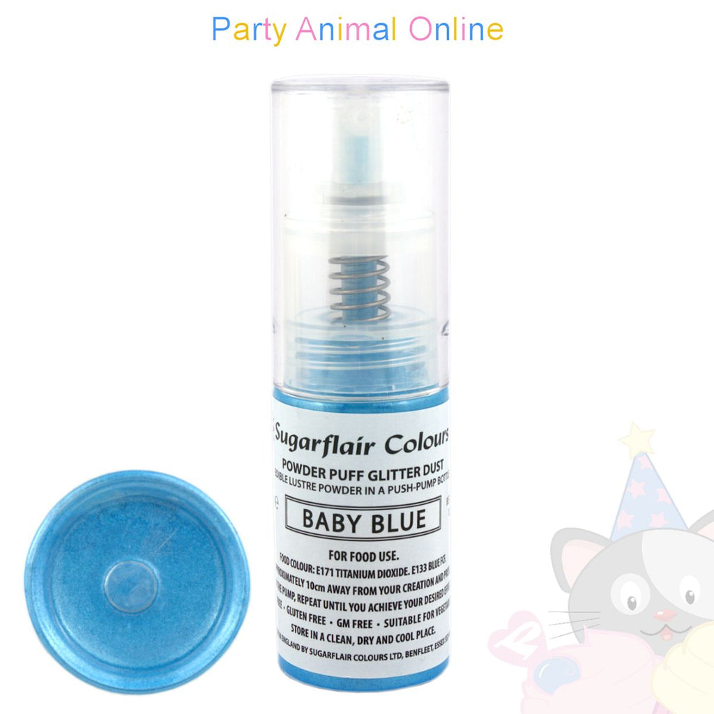 Sugarflair Powder Puff Glitter Dust Spray BABY BLUE Edible Lustre