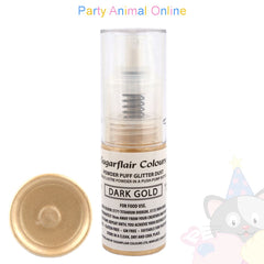 Sugarflair Powder Puff Glitter Dust Spray DARK GOLD Edible Lustre