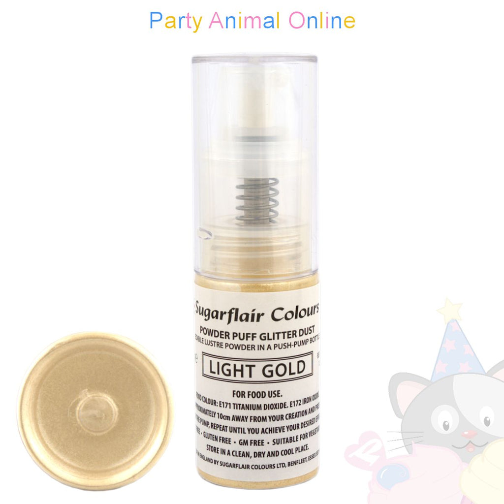 Sugarflair Powder Puff Glitter Dust Spray LIGHT GOLD Edible Lustre