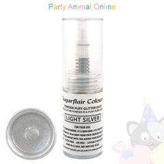Sugarflair Powder Puff Glitter Dust Spray LIGHT SILVER Edible Lustre