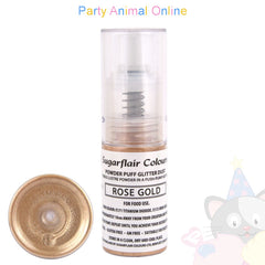 Sugarflair Powder Puff Glitter Dust Spray - ROSE GOLD Edible Lustre