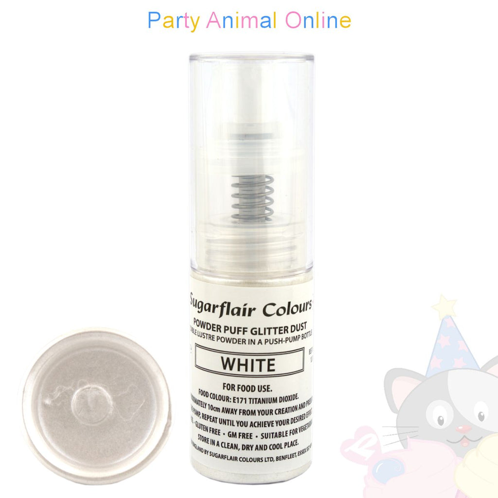 Sugarflair Powder Puff Glitter Dust Spray - WHITE Edible Lustre