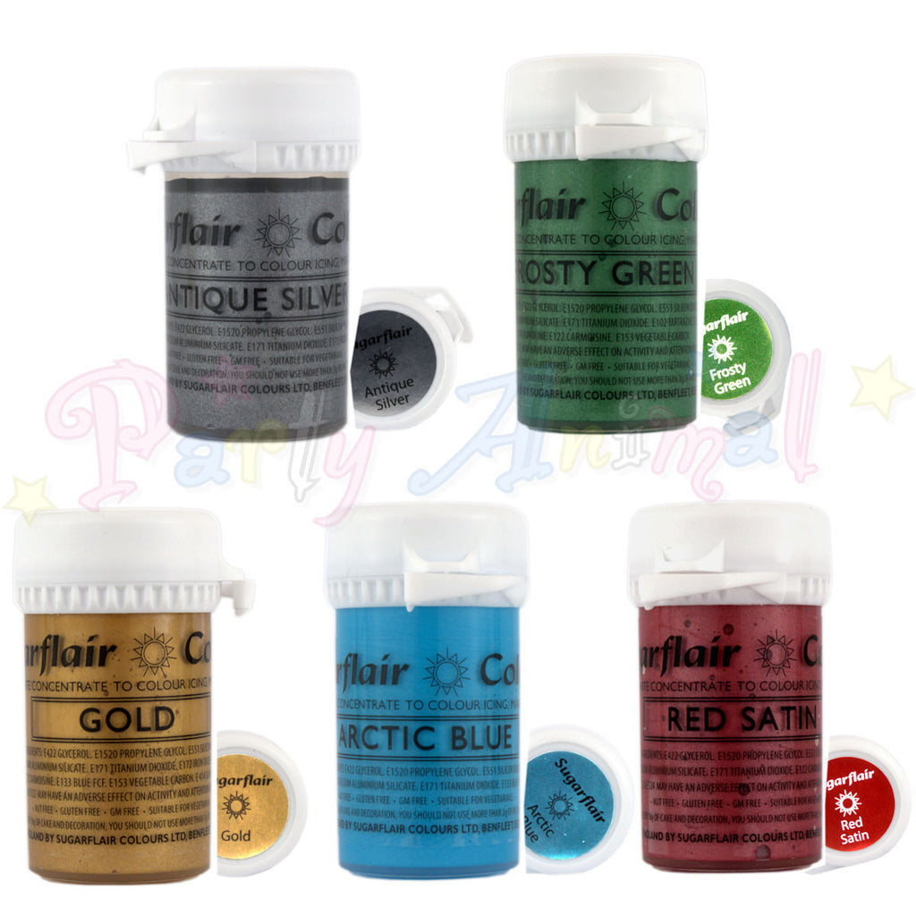 Sugarflair Satin Paste Food Colour - Set of 5