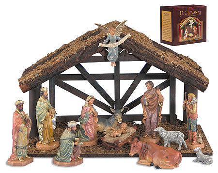 12 piece Nativity set with wood stable
