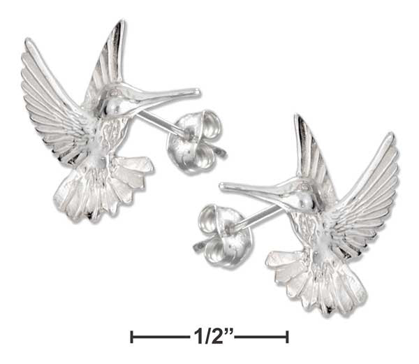 Sterling Silver High Polish & Diamond Cut Hummingbird Earrings