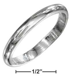 sterling silver 3mm high polish wedding band ring