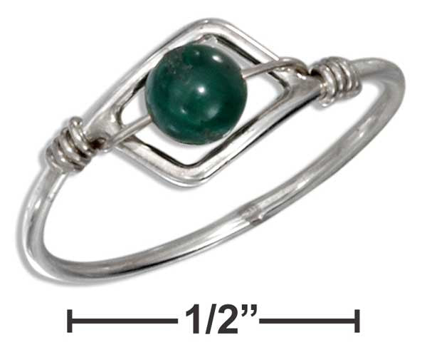 Sterling Silver Wire Ring With Malachite Bead