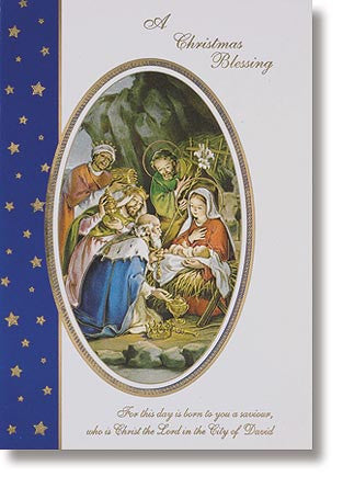 Christmas blessing blue card with envelope (10 card set)