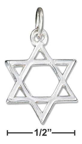 Sterling Silver High Polish Jewish Star of David Charm