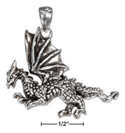 sterling silver antiqued fierce dragon pendant