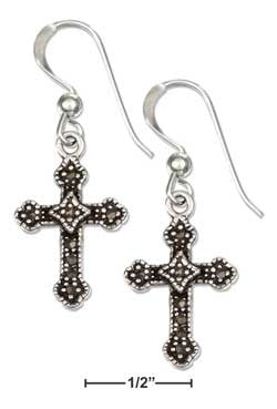 sterling silver marcasite cross french wire earrings