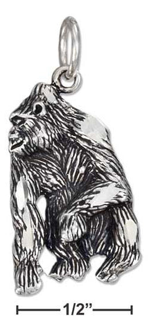 sterling silver antiqued gorilla charm