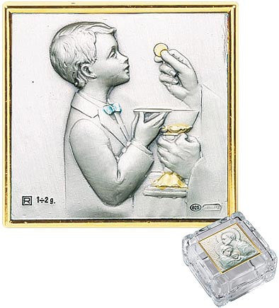 Boy Communion crystal keepsake rosary box