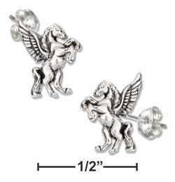 sterling silver mini antiqued pegasus earrings-posts