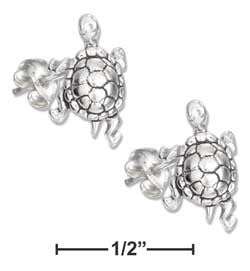 Sterling Silver Mini Turtle Earrings