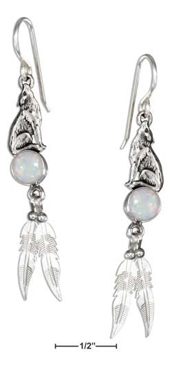 sterling silver synthetic opal howling wolf w feathers earrings