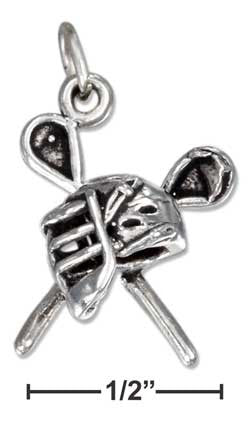 sterling silver antiqued sticks and mask lacrosse charm