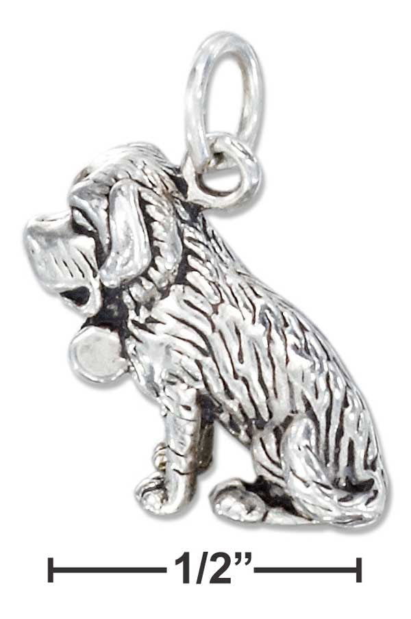 Sterling Silver Three Dimensional St. Bernard Charm
