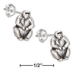 sterling silver mini gorilla earrings-posts