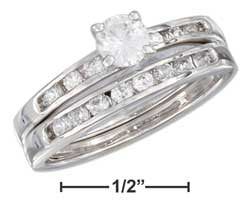 sterling silver 4.5mmcubic zirconia channel set wedding ring set