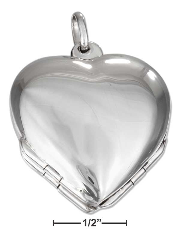 Sterling silver high polished heart four way locket