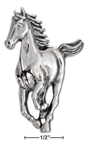 Sterling Silver Front View Antiqued Running Horse Pendant