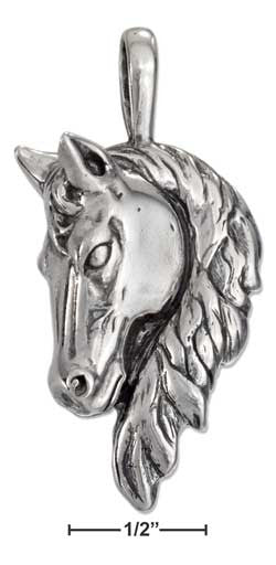 sterling silver lg antiqued horse head pendant with long mane