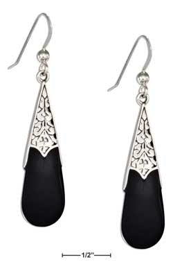 sterling silver celtic teardrop sim black onyx earrings-French wires