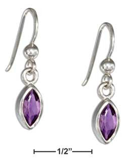 sterling silver marquise amethyst earrings on french wires