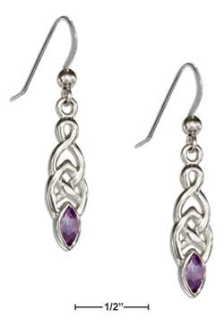 sterling silver celtic weave with marquis amethyst earrings