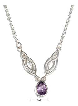"sterling silver 15-18"" adjustable life fish and amethyst teardrop necklace"