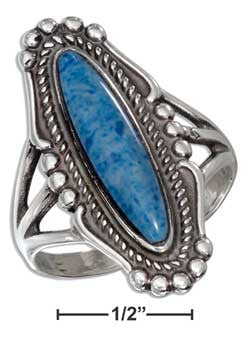 sterling silver elongated oval reconstituted denim lapis ring