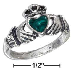 sterling silver small antiqued claddagh ring with reconstituted malachite heart