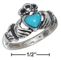 sterling silver small antiqued claddagh ring with reconstituted turquoise heart