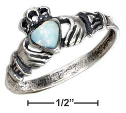 sterling silver claddagh ring with white synthetic opal heart