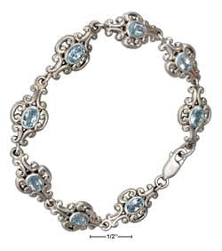 "sterling silver 7"" continous scrolled link oval blue topaz bracelet"