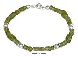 "sterling silver 7"" beaded peridot bracelet"