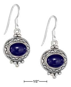sterling silver etched border oval cabochon lapis earrings