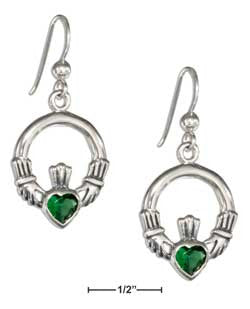 sterling silver Irish claddagh earrings with emerald green Glass Heart