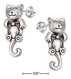 sterling silver movable happy cat earrings w curly tail