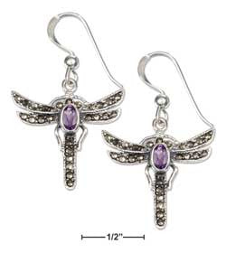 Sterling Silver Marcasite & Amethyst Dragonfly Earrings