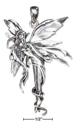 sterling silver antiqued bending fairy pendant