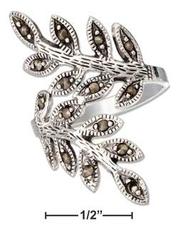 Sterling Silver Marcasite Leaf Bypass Ring