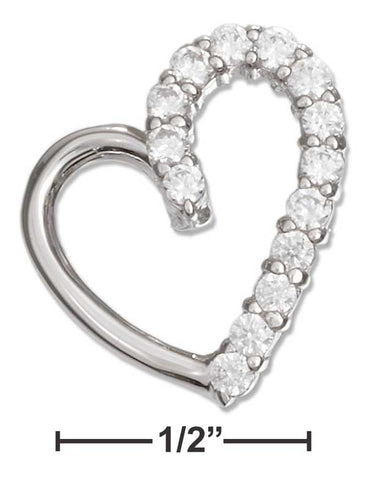 Sterling Silver Half High Polish Half Cubic Zirconia Open Heart Pendant