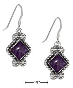 sterling silver beaded border diamond shape simulated charoite earrings