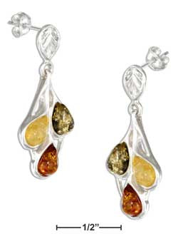 sterling silver green, yellow, and honey amber teardrop earrings